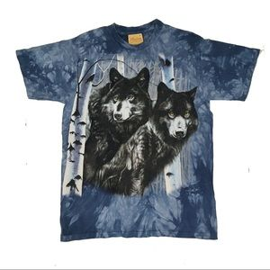 The Mountain blue Wolf Graphic tie dye T-shirt